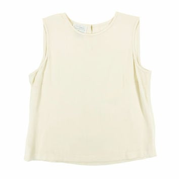 Off White Silk Tank - Ivory Top Boxy Crop Minimal 90s Grunge Goth - Women's Size Small Medium Sm Med S M