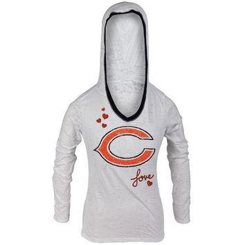 PEAPGQ9 Chicago Bears - Girls Youth Burnout Hooded Long Sleeve T-Shirt