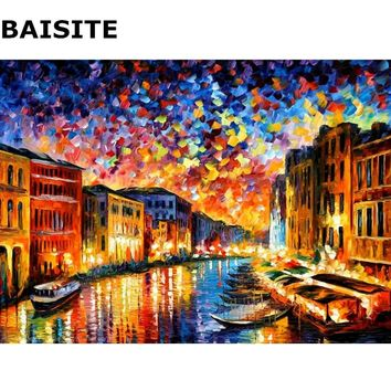 BAISITE DIY Oil Painting By Numbers Hand Painted Canvas Modern Abstract Home Decor  For Living Room Wall Art H320 40*50cm