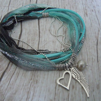 Angel Wing Anklet - Ribbon Wrap Anklet In Aqua With Freshwater Pearl - Bohemian Style Jewelry