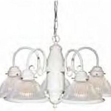 """Nuvo 76-449 - 5-Lights 22"""" Textured White Chandelier with Clear Ribbed Shades"""