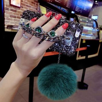 LOVECOM Hot Luxury 3D Bling Rhinestone Glitter Powder Two Chain Fox Fur Ball Hard Phone Cases For iPhone 6 6S Plus 7 7 Plus