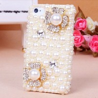 lovely solid pearl flower/bowknot Rhinestone case for iphone 4/4s