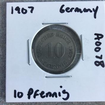 1907 German Empire 10 Pfennig Coin A0078