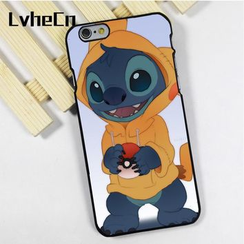 LvheCn phone case cover fit for iPhone 4 4s 5 5s 5c SE 6 6s 7 8 plus X ipod touch 4 5 6 s Lilo Stitch PikachuKawaii Pokemon go  AT_89_9