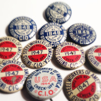 VINTAGE FALL ELECTION: Eleven 1940s Metal Patriotic Union United Steelworkers Red White and Blue Lithograph Pinback Buttons