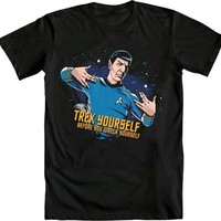 Star Trek Spock Representin' Trek Yourself Before Wreck Adult Black T-Shirt