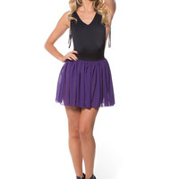 Chiffon Plum Mini Skirt