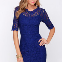 Dance Through the Decades Indigo Blue Lace Dress