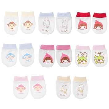 Baby Glove Cartoon Pattern Anti-grasping Gloves Newborn Protection Face 100% Cotton Anti Scratching Gloves