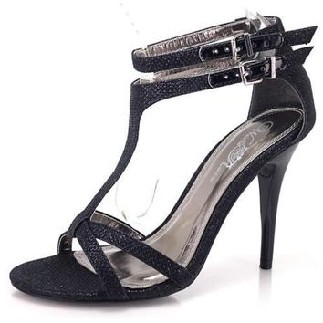 Reggie06x Black Glitter By Wild Rose, T-Strap Sandals for Prom, Parties, Club Women Shoe