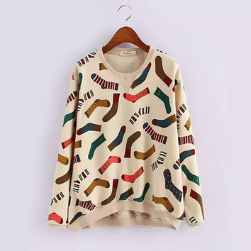 Beige Socks Print Sweater