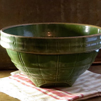 Vintage McCoy Mixing Bowl, Green Window Pane, Stoneware Pottery, Serving Dish, Number 11 Bowl, Large Size, Cottage Kitchen Decor