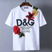 D&G flower rose embroidery white short sleeve top H-A-KSFZ