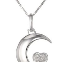 "Sterling Silver Diamond-Accent ""I Love U 2 the Moon and Back"" Moon and Heart Pendant Necklace (.06 cttw, I-J Color, I2-I3 Clarity), 18"""