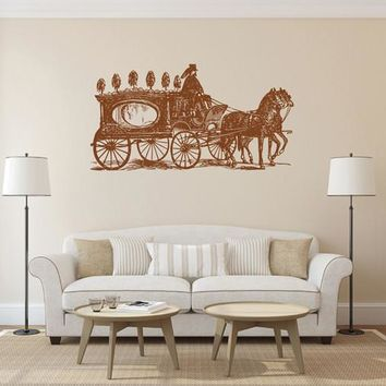 ik1887 Wall Decal Sticker carriage coach horse old retro living room bedroom