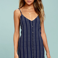 Stripe a Chord Navy Blue Striped Button-Up Dress