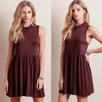 Burgundy Sleeveless Pleated Knit Dress