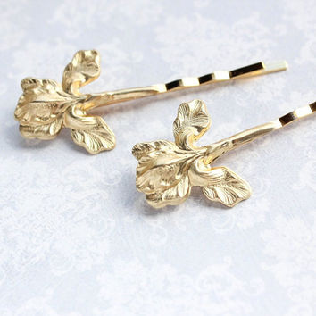 Gold Iris Bobby Pins Rustic Nature Raw Gold Brass Hair Pin Woodland Wedding Spring Garden Flower For Hair Bridesmaids Gift Boho Chic Bobbies