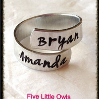 Hand stamped wrap ring personalized spiral wrap ring
