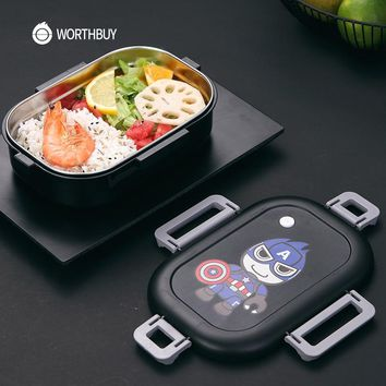 WORTHBUY Cute Cartoon Lunch Box For Kids Japanese 304 Stainless Steel Bento Box LeakProof Microwave Food Container Storage Box