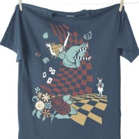 ALICE IN WONDERLAND - DOWN THE RABBIT HOLE T-SHIRT [BYNT] - $21.00 : Gorey Details, - Edward Gorey, Tim Burton, Alice, Poe, gothic, horror, halloween, vampire, bats, skull, zombie, dragon, fairy, victorian