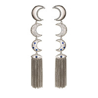 Moon Linear Vermeil Gold Earrings with Tassels