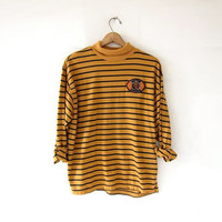 vintage striped shirt. slouchy shirt. long sleeve boxy shirt. black + yellow. basic pullover shirt.