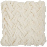 Pintuck Faux Fur Pillow - Ivory