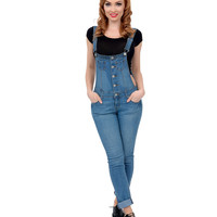 Light Blue Medium Wash Denim Button Up Classic Stretch Overalls