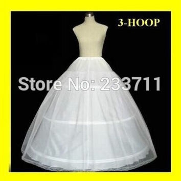 In Stock 2016 Hot sale 3 Hoop Ball Gown Bone Full Crinoline Petticoats For Wedding Dress Wedding Skirt Accessories Slip K6141