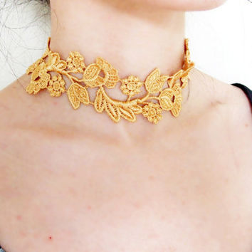 SALE gold floral lace choker necklace steampunk vintage plant  Victorian handcrafted Fabric womens jewelry  gift