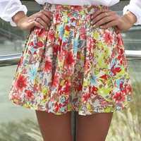 PRINT PLEATED MINI SKIRT , BOTTOMS,,Skirts Australia, Queensland, Brisbane