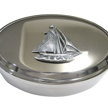 Silver Toned Large Textured Nautical Sail Boat Oval Trinket Jewelry Box