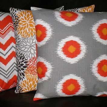 "Pillows Decorative Pillows TRIO chevron, bloom, ikat 20 inch Throw Pillow Covers gray 20"" orange, brown, grey, chili pepper"
