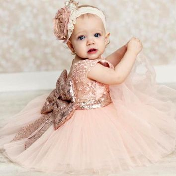 Christmas baby girl dress christening gowns infant gold pink bow lace princess tutu dress for wedding and first birthday party