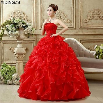 YIDINGZS Romantic Red Wedding Dress Sweetheart Organza Pearls Ruched Wedding Dresses Beautiful Party Ball Gown
