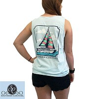 Southern Couture Comfort Colors Sailboat Girlie Bright Tank Top