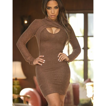 Coffee Cut-Out Long Sleeve Bodycon Mini Dress