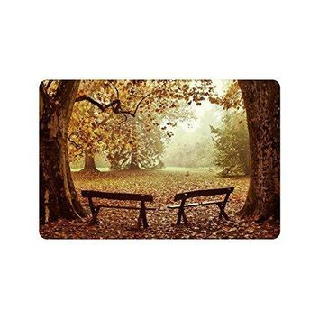 Autumn Fall welcome door mat doormat Autumn Park Benches Anti-slip  Home Decor, Fall Wood Tree Indoor Outdoor Entrance  Rubber Backing AT_76_7