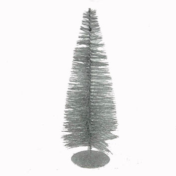 "Christmas 16"" Silver Bottle Brush Tree Christmas Decor"