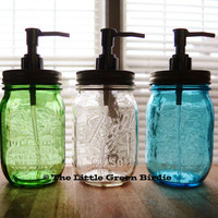 Mason Jar Soap Dispenser for Bathroom or Kitchen - Clear, Blue or Green - Ball Pint Glass Jar Lotion Dispenser - Silver Chrome Soap Pump