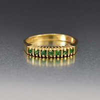 Outstanding 14K Gold Emerald Eternity Band Ring