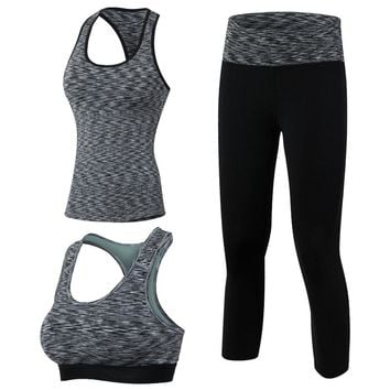 Yuerlian 3 Pieces Fitness Quick Dry Workout Sport Suit Tights Run Sport Bra Tracksuit For Women Vest Top pants Yoga Set Gym Hot