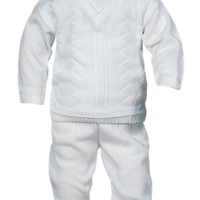 Boys 100% Cotton Knit Sweater & Pants Set Newborn to 24m