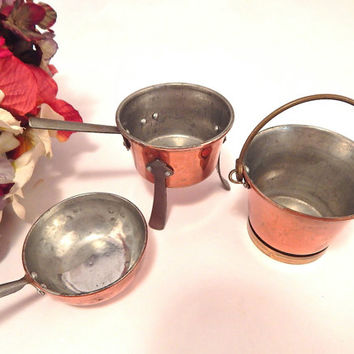 Brass and Copper Cookware Miniature Pots and Pans Three Doll House Kitchen Cookware Collectible Vintage Home Decor made in Sweden
