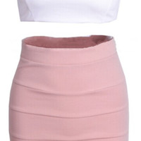 Angela Two Piece Dress Set - Pink & White