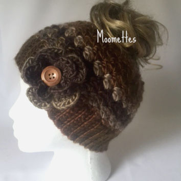 Handmade Messy Bun Hat Brown Beige Beanie Wood Button Crochet Flower Pony Tail Teens Women