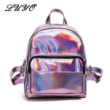 LUYO PU Leather Sliver Small Schoolbag Female Silver Shiny Backpack For Girls Women Mochila Feminina Backpacks Rucksack Glitter