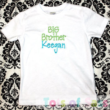 BIG BROTHER Shirt- Aqua and Lime Green CUSTOMIZED Colors- with bow tie or without Perfect Shirt to wear going home from the hospital